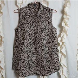 Theory Leopard / Animal Print Silk Shirt